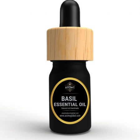 basil aromatic essential oil bottle