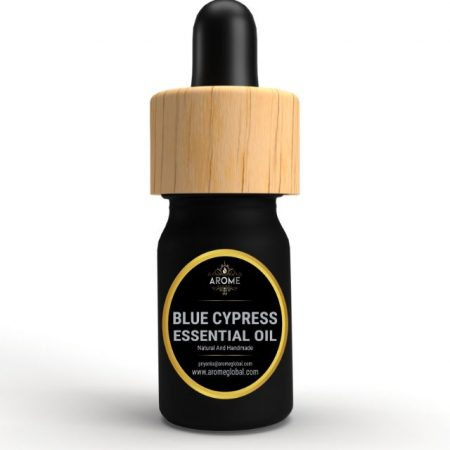 blue cypress aromatic essential oil bottle