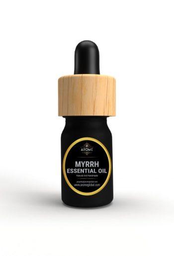 myrrh aromatic essential oil bottle